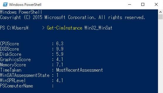 PowerShellを実行し、「Get-CimInstance Win32_WinSat」