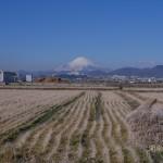 快晴 富士の頭に雲の傘